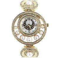 Wrist Watch Pearl Special Small Dial Design Popular Fashion Brass Case Rhinestone Cream White Luxury Party Present - VC Mart