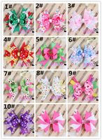 10 pcs New Style Children's Dovetail Hair Bows Baby Dot Ribbon Bows Hair Clips Girl Flower Hair Bow Infant Big Bow-knot Hairpins