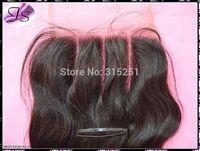 "IS 3 way parts lace closures virgin Brazilian body wave top closures 4x4"" Free part Middle part swiss bleached knots"