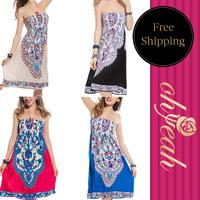 R7696 Free Shipping  Summer Dress Vintage Flowers women summer dress Double Printed sexy dress 2015 new women dress