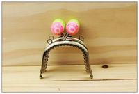 7.5CM purse frame, colorful kiss lock, Flower Candy Bead Metal Purse Frame,Wallet Rose Frame,2 Colors Cute Coin Purse Frames