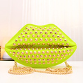 2014 women's handbag fashion candy color sexy lip rivet bag   messenger  bag a1003