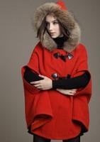 2014 fall and winter clothes Korean female models real fur collar woolen cape coat jacket woolen cape shawl