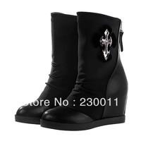 2013 new comfortable antislip patchwork metal decorative back zipper warm women's boots