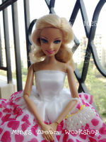 FREE SHIPPING Doll accessory gown Hand madewhite Handbag for barbie Doll - item no.1025