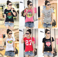 2013 Summer New Arrival Women's Short-sleeve T-shirts,Casual Cotton T shirt Women Free Shipping