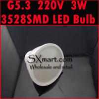 Wholesale G5.3 220V 3W 3528 LED Bulb SMD LED spotlight led lamp warm white/cold white 10pcs/lot