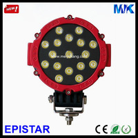 Red & Black 51W Epistar 12V 24V 2200LM IP67 Spot & Flood Beam Pmma Lens Auto Offroad Truck 4x4 Led Driving Light MK-2012