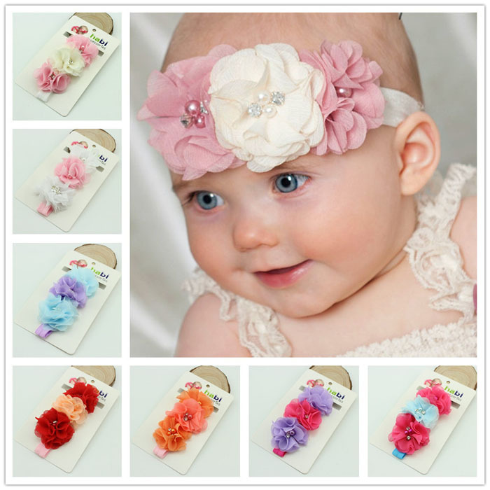 8 designs Baby Chiffon Flower Headband with Pearl Kids Costume Hair Boutique Baby Hair Band Photo Props 10pcsTS-0169(China (Mainland))