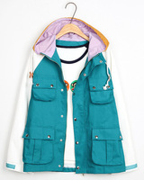 2014 autumn and winter new arrival women's loose long-sleeve HARAJUKU cardigan with a hood outerwear