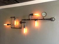 2014 Water pipe wall lamp vintage aisle lights loft iron wall lamp edison incandescent light bulb