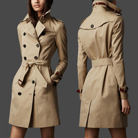 New 2013 Women Fashion double breasted leather buckle Trench Coat/High Quality Designer Elegant Trench khaki, black #29010