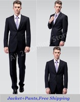 Free shipping---gentleman formal suit set /men dress suits/suit jackets/Black or blue suit,/Jackets+Pants,M-XXL