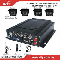 4-channel H.264 full D1 resolution hard disk cctv car dvr