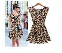 New 2014 women dresses  bodycon dress Women bandage dress Leopard Print Casual Microfiber Sundress vestidos saia Big size M L XL