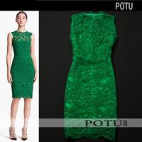 2014 new spring women elegant embossed flower lace bow slim hip slim dress autumn outfits for women vestidos plus size S M L XXL