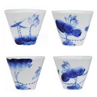Blue and white porcelain teacup jade tea set