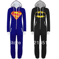 Womens Mens UNISEX adult Super Hero Superman Batman Hooded Hoodies Kigurumi Pajamas Playsuit Zip Up Sui Jumpsuit D-1057