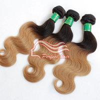 Brazilian  Virgin Hair Body Wave 3PCS Two Tone Ombre Hair Extensions 1b/27 Human Hair Extension Weaves No Shedding / Tangle