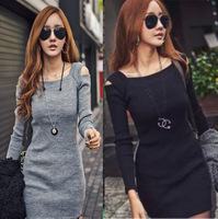 D38 Celebrity Style Size M-XXL Women Off Shoulder Sexy Sweater Dress Long Sleeve Winter Autumn Night Club Dresses Free Shipping
