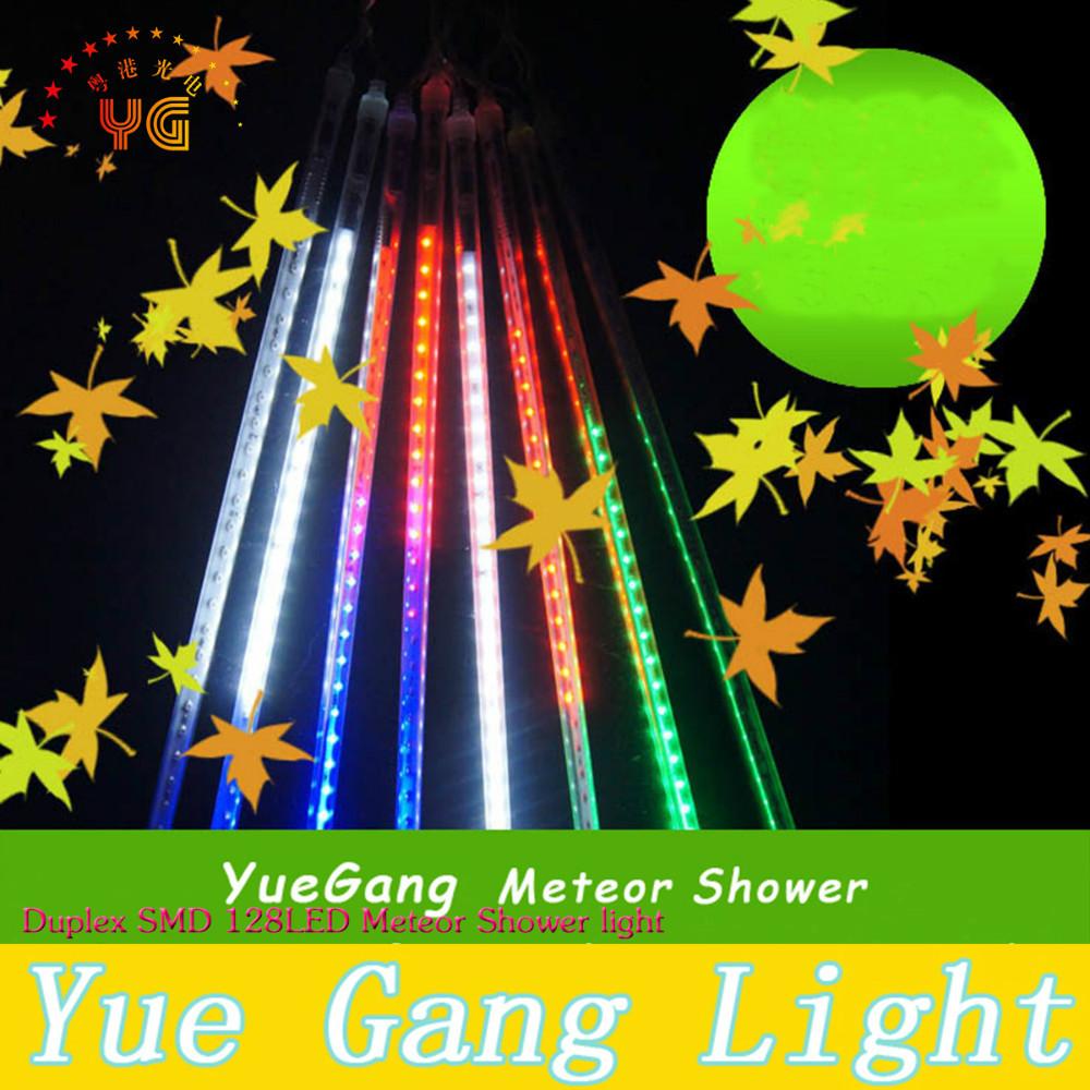 Duplex SMD 128 LED Lamp beads Meteor Shower Rain Tube Lights Outdoor Christmas Tree Festival Decoration 100cm free shipping(China (Mainland))