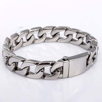 CUSTOMIZE SIZE 13mm Flat CURB CUBAN 316L Stainless Steel Bracelet Huge Heavy Mens Chain Bracelet  HB83