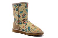 Free shipping top quality new arrival original Australian graffiti women's fur snow short ankle boots fashion 2014 for women
