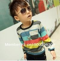 2014 HOT SALE  Boys Striped shirts Boy  Long Sleeved T-shirt Baby shirts Children wavy line Shirt  3colors