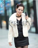 EMS Free Shipping 2013 Natural Rabbit Fur Coat Women Lady Real Fox Fur Collar Overcoat Genuine Rabbit Fur Jackets Outerwear PC04