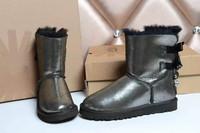 2014 Brand Genuine Australia sheepskin 100%Wool inside crystal charm Bow warm women winter ankle snow boots free shipping HHC03