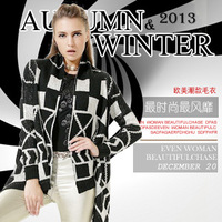 2013 European western fashion women's winter clothes Geometrical design tide long sleeve bead piece yarn cardigan sweater