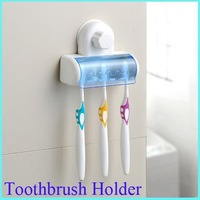 Home Bathroom decoration Toothbrush SpinBrush Suction Holder Stand Rack Plastic Set 5 bin