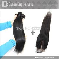 Brazilian Virgin Hair 5pcs lot straight hair middle part Lace closure with 4pcs bundle Unprocessed Hair Extention
