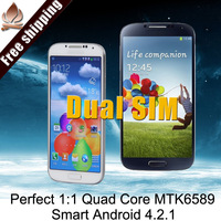 "Air gesture s4 phone i9500 Dual sim perfect 1:1 quad core phone MTK689 phone 5.0"" 1280*720 android 4.2 1.6G CPU 13.0MP GPS Gifts"