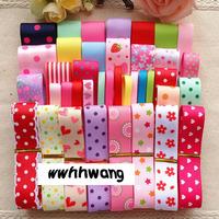 Free shipping wholesale 46 yards Child hair accessory diy handmade ribbon bow material kit rib knitting belt ribbon set