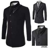 Free Shipping 2013 new winter men's single-breasted wool coat oblique placket personality casual jacket US Size:XS,S,M,L 9383