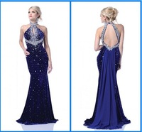 High Collar Mermaid Bule Rhinestone crystals Beading Backless Brush Train Prom Gowns Evening Dresses