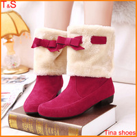 Free shipping women fashion snow winter boots ankle platforms bowtie nubuck leather boot shoes large size Us 9 10 11 12 5515-20