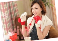 2014 new free shipping Christmas Heart Sphere Mittens Halter warm knitted wool gloves double lanyard...