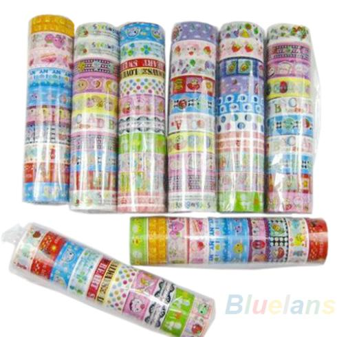 10 rolls/set of kawaii lovely deco cartoon tape scrapbooking adhesive paper sticker PVC(China (Mainland))