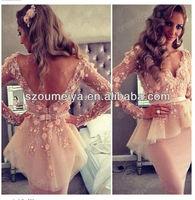 Free Shipping OEC318 Nude Flowers Lace Top V Neck Elegant Long Sleeve Evening Dress Short