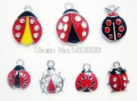 HGFDG8989!! Free Shipping 20Pcs/Lots Enamel MIXED Point  Ladybug charms pendants for key charm
