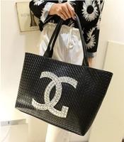 2013 free shipping famous brands leather CC handbag Fashion messenger Big knitted women's black bags women love handbags