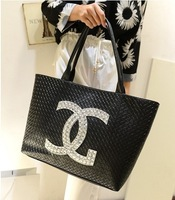 2013 free shipping famous brands leather CC handbag Fashion messenger Big knitted women's black bags women love handbags