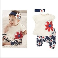 Hot summer with baby girls floret leisure suit flower headbands with short sleeves + T-shirt + pants covered three times