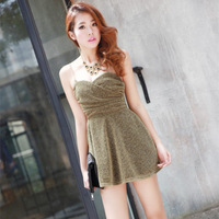 Free Shipping Korea Sexy&Club Raw Silk Spaghetti Strap Dress Sleeveless Off-The-Shoulder Backless Cocktail Dresses 7795