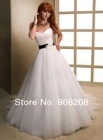 High Fashion 2014 vestidos White/Ivory Sweetheart Sleeveless A-Line Wedding dresses Flower belt Bridal Gown Wedding Dress