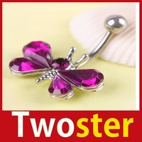 [TwoSter] Beautiful Rhinestone Butterfly Navel Belly Button Barbell Ring Body Piercing High Quality