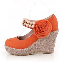2013 Fashion wedges females shoes flowers beading high heels sweet elegant platform pumps womens shoes spring 2013free shipping