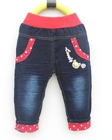 Free shipping  boys trousers bear with double pink heart print  high quality   item no:5337